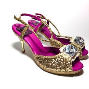 NWOT High Heel Power Gold Glitter Gemstone Heels